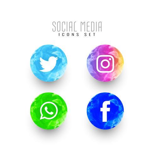 Abstracte sociale media aquarel pictogrammen instellen