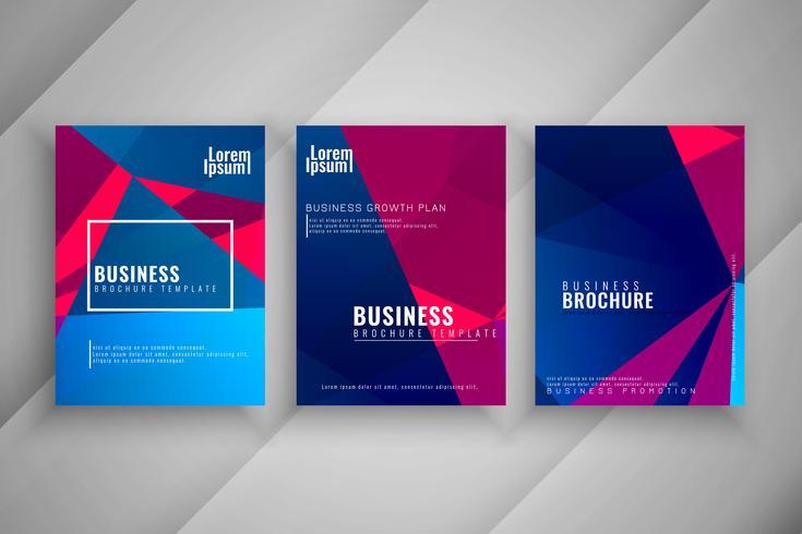 Abstracte zakelijke brochure kleurrijke sjabloon set
