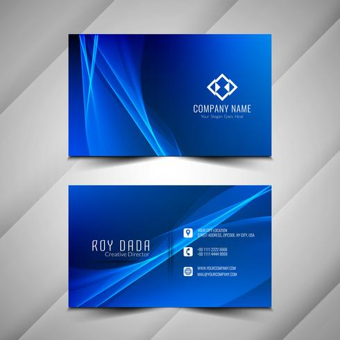Abstract colorful wavy business card stylish template vector