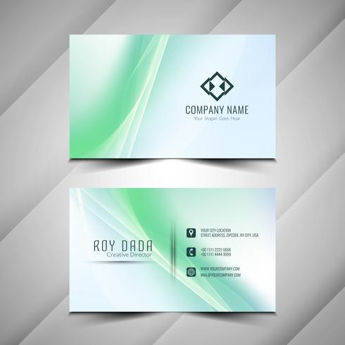 Abstract modern colorful wavy business card template vector