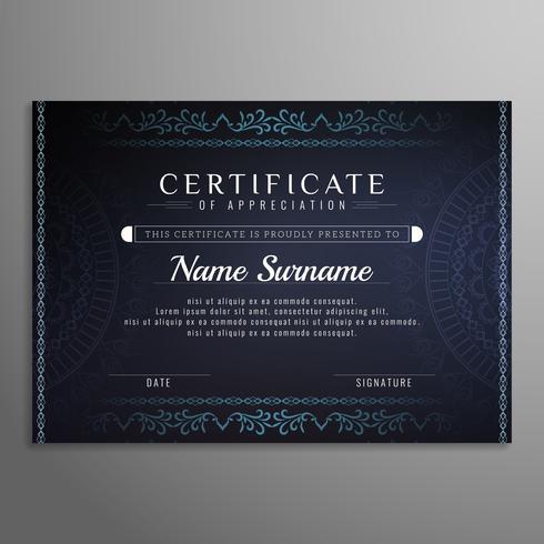 Certificado de fundo artístico abstrato design