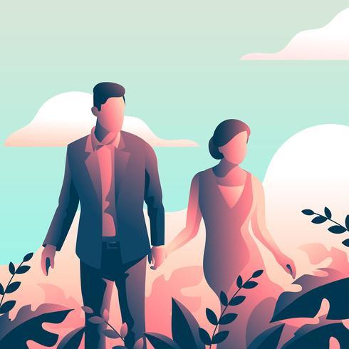 Couple en vetu avec feuilles tropicales