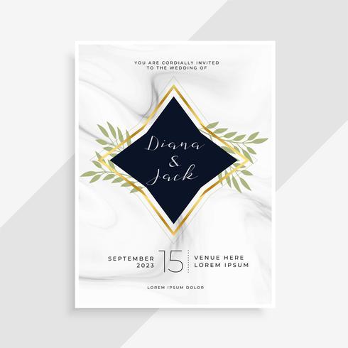 kreative Hochzeitseinladungskarte mit Marmorbeschaffenheit