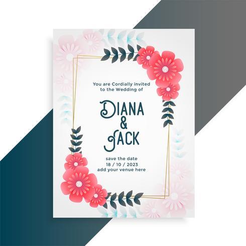 Inbjudanmall för blommabröllopskort
