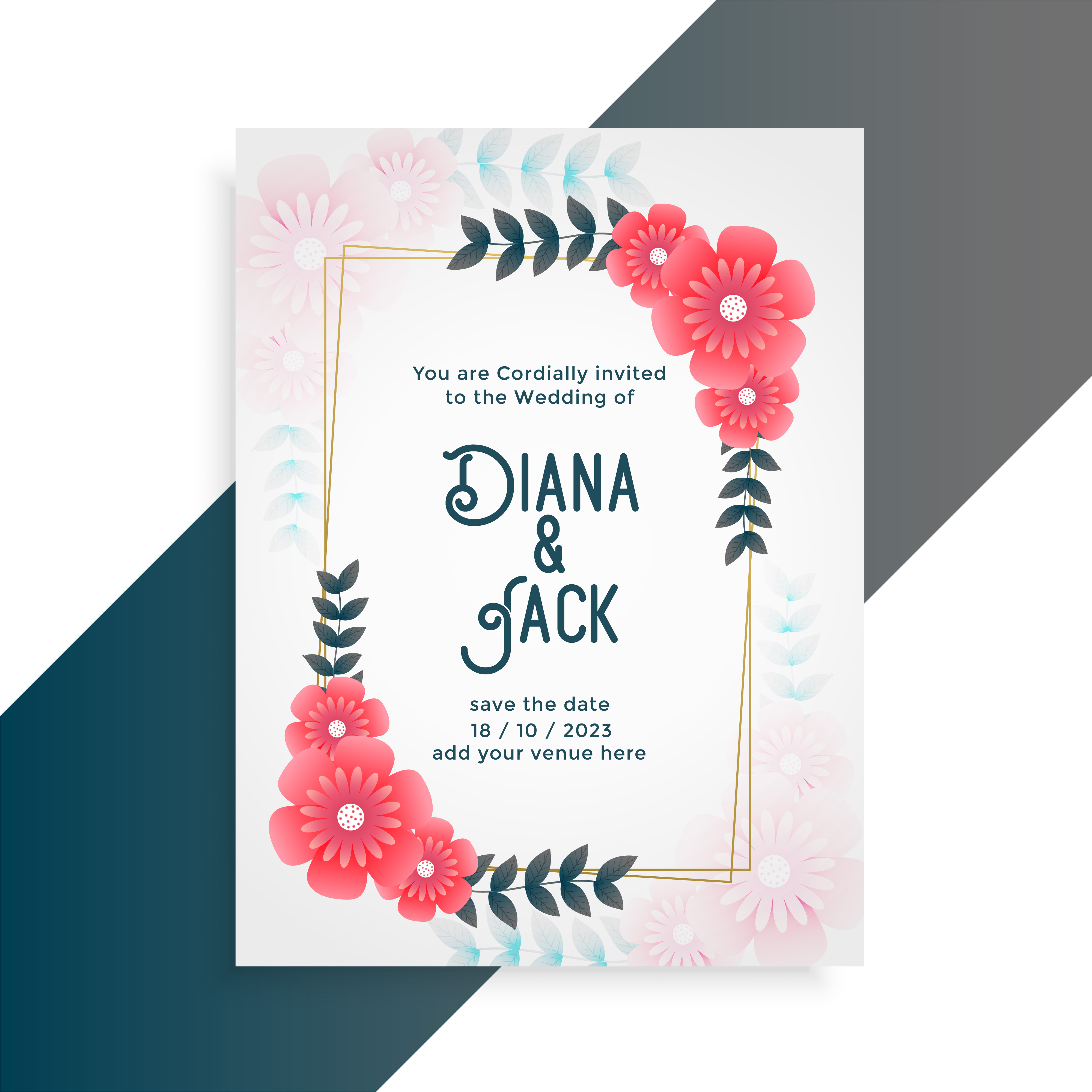 flower wedding card invitation template  download free