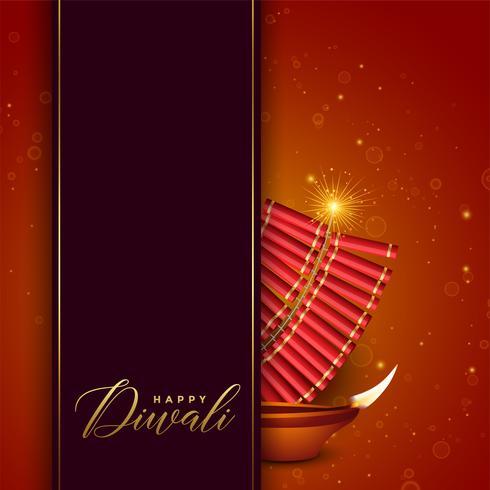 Diwali Festival Design mit Cracker und Diya