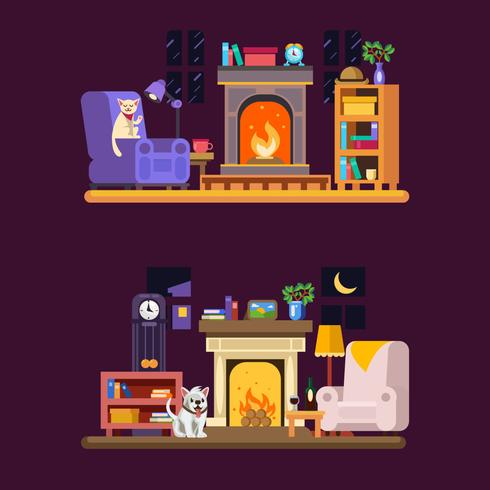 Pet By Fireplace