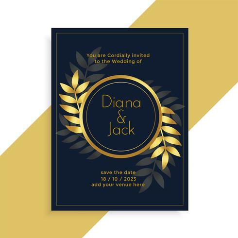Premium-goldene Blätter Hochzeit Kartengestaltung