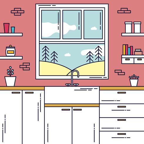 Keuken venster weergave Vector