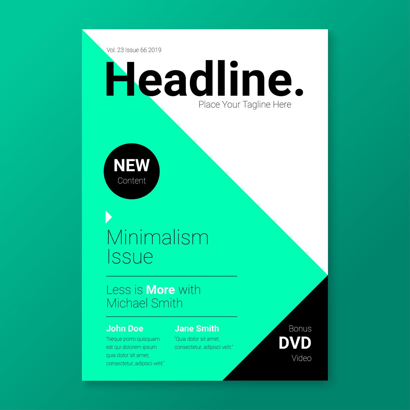 minimalism stylish magazine cover template