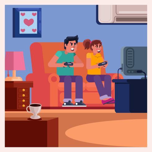 Couple sur un canapé jouant à des jeux