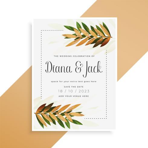 folhas imprimir design de cartão de casamento bonito