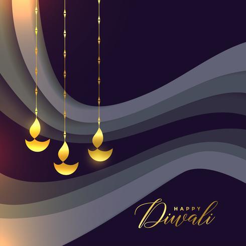mooie gelukkige diwali-groet met gouden diya