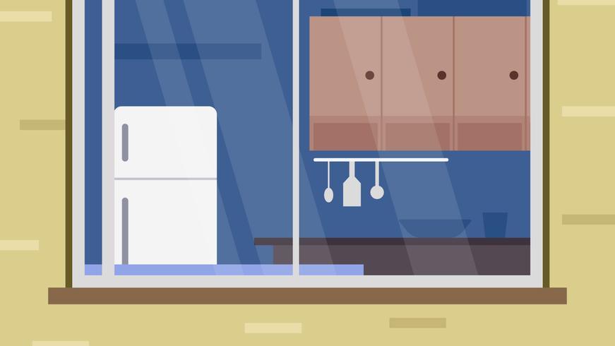Einzigartige Küche Fensteransicht Vektoren