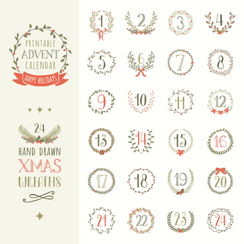 Printable Advent Calendar Vector