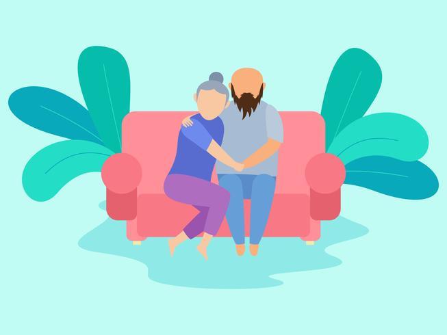 Excelente casal frio nos vetores de sofá