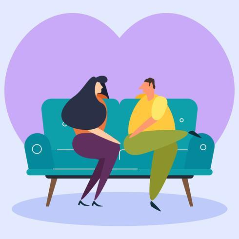 Hervorragende Chill-Paar auf den Couch-Vektoren