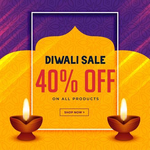 glückliche diwali kreative Verkaufsfahne mit zwei diya