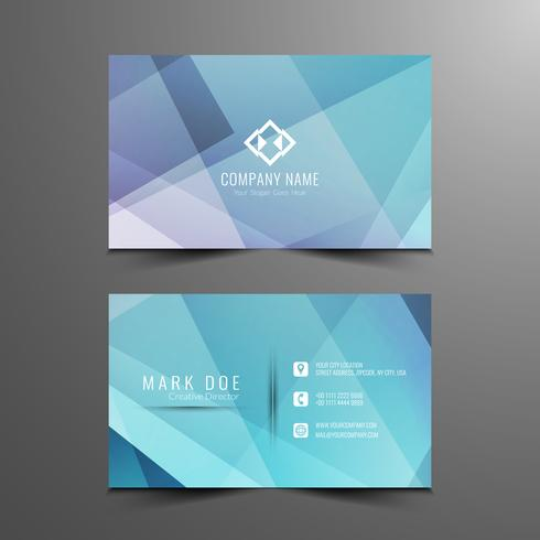 Abstract blue geometric visiting card template