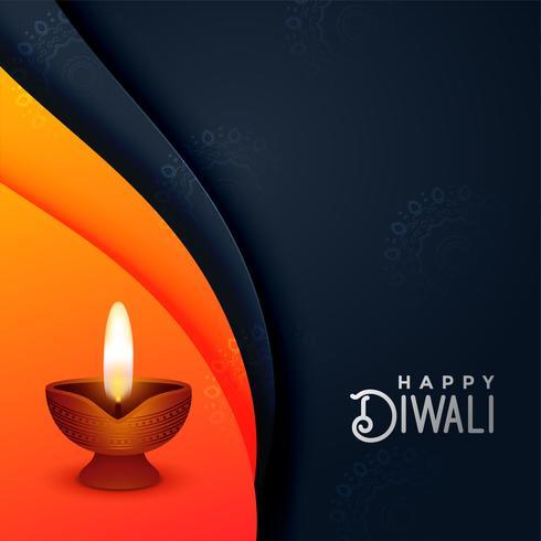 creatieve diwali diya in oranje en zwarte kleuren