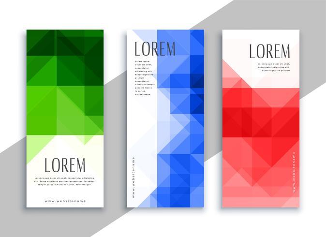 geometrische banners in verschillende kleuren