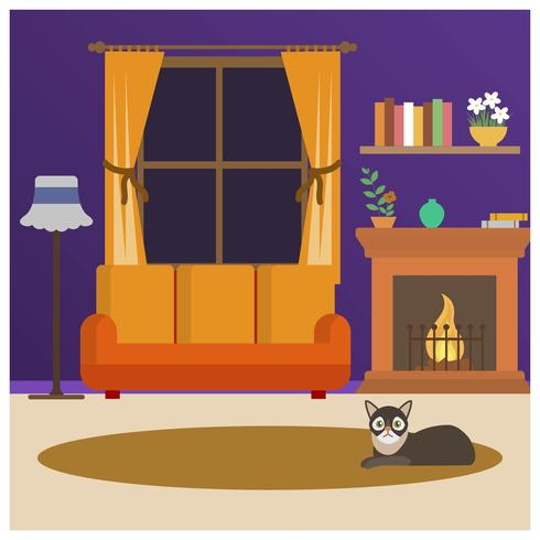 Il gatto piano si siede davanti all'illustrazione di vettore di Fireside