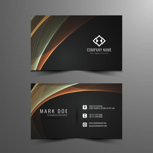 Abstract stylish wavy business card template