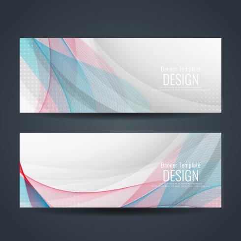 Abstracte kleurrijke golvende stijlvolle banners instellen