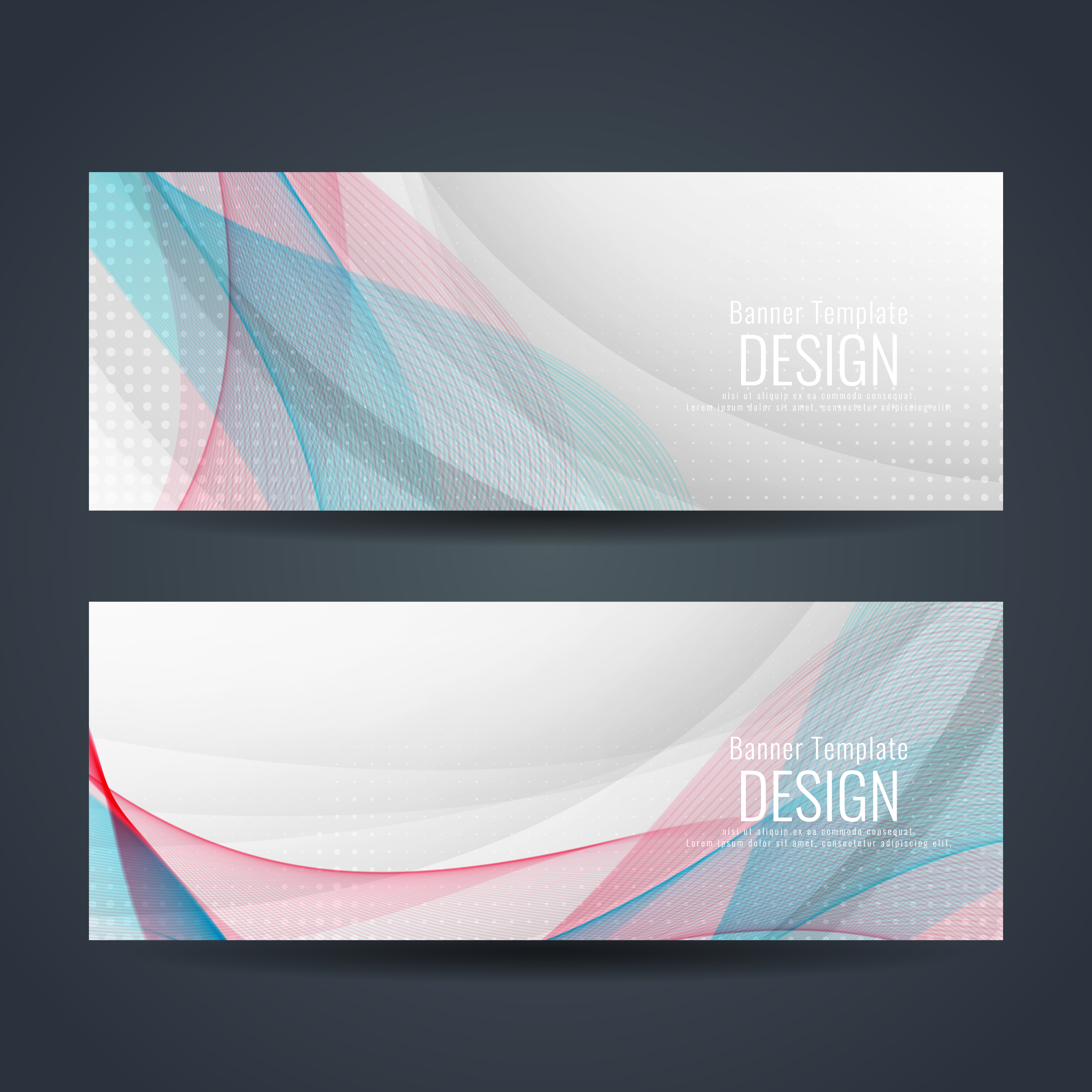 Abstract Colorful Wavy Stylish Banners Set 255770 Vector