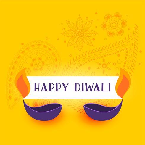 gelber glücklicher diwali Hintergrund mit zwei diya