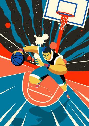 Corriendo jugador de baloncesto vector