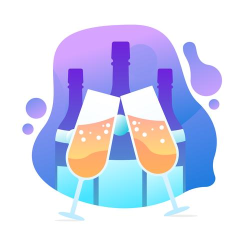 Champagne Toast Vector Illustration