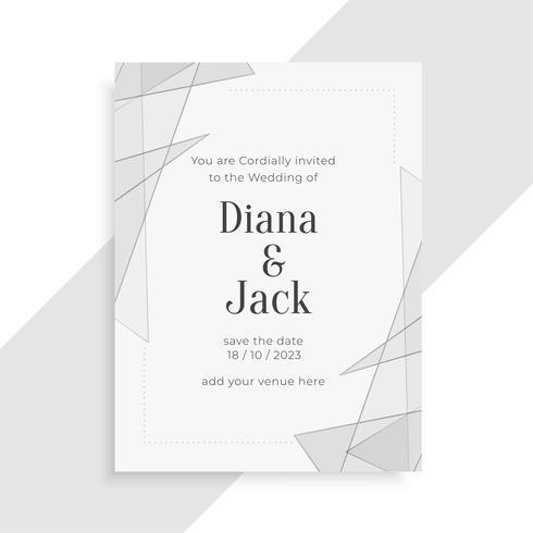 schöner eleganter geometrischer Hochzeitseinladungs-Kartenentwurf