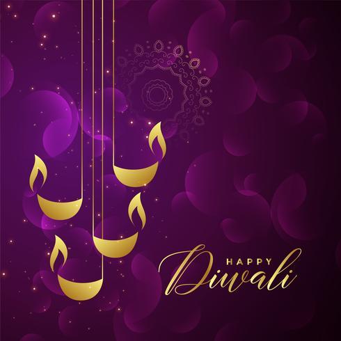 design criativo diya diwali dourado sobre fundo roxo brilhante