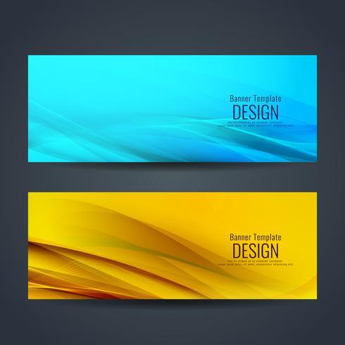 Abstracte kleurrijke golvende stijlvolle banners instellen vector