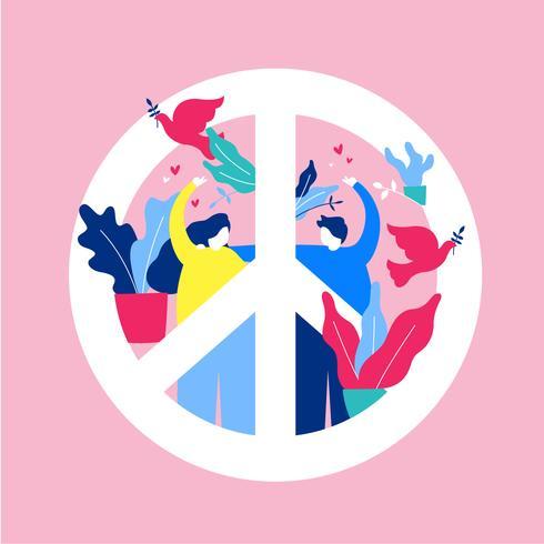 Illustration vectorielle de paix et d'amour
