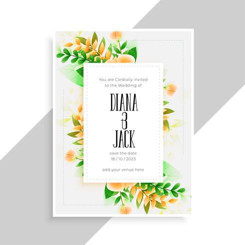 décoration florale beau modèle de conception de carte de mariage