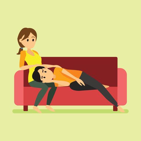 Un uomo che si posa sulla coscia della sua ragazza