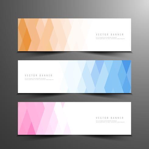 Jeu de bannières géométriques élégantes abstraites colorées