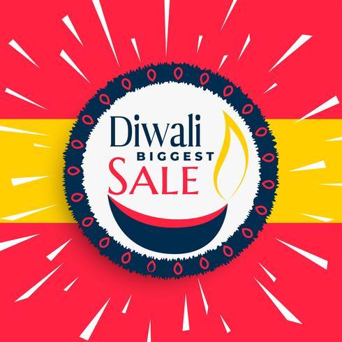 Loco banner de venta de diwali feliz con rayos estalló
