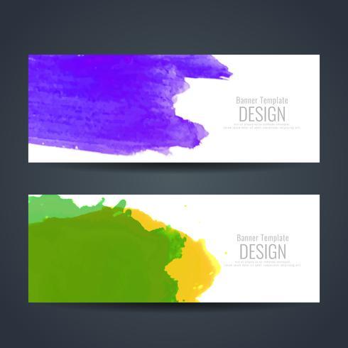 Conjunto de banners de acuarela colores abstractos
