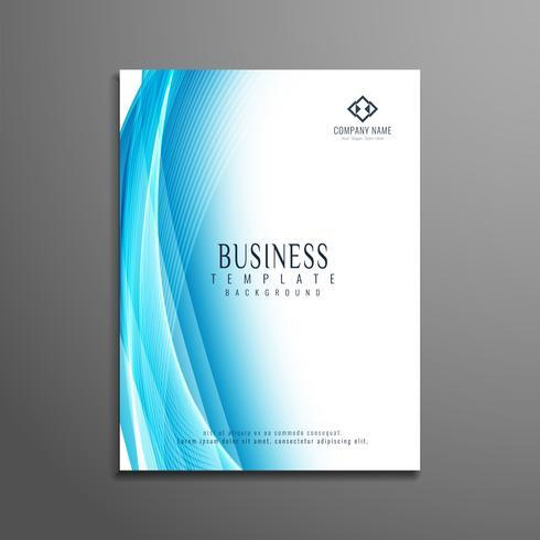Modelo de panfleto de negócio elegante ondulado azul abstrato