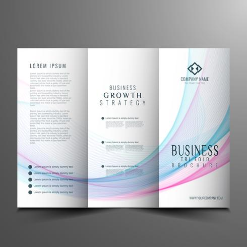 Plantilla de folleto tríptico empresarial abstracto ondulado