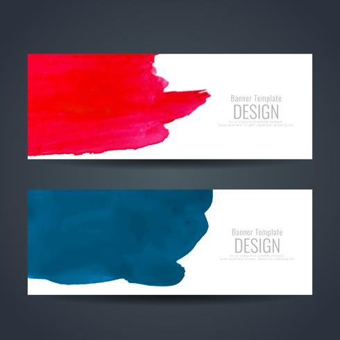 Jeu de bannières aquarelle colorée abstraite