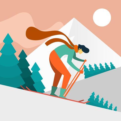 Skieur homme plat en illustration vectorielle action