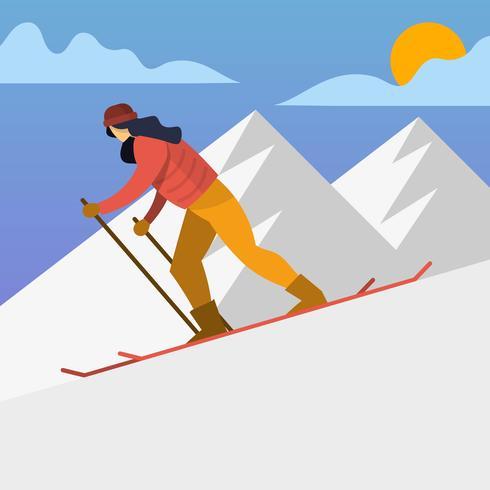 Mujer esquiadora plana en acción ilustración vectorial