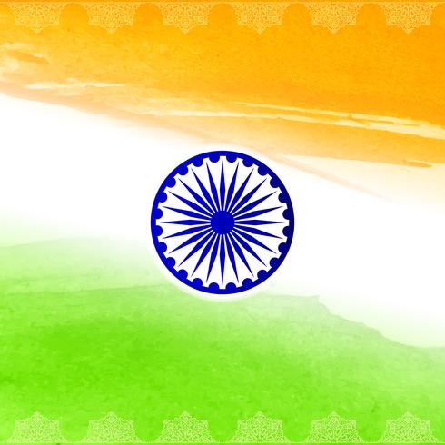 Fondo indio abstracto del diseño de la acuarela del tema de la bandera vector