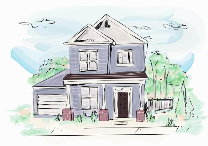 Ilustración de Vector de acuarela exterior de edificio de casa clásica