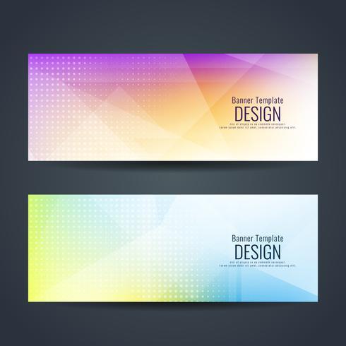 Conjunto de banners con estilo ondulado colorido abstracto