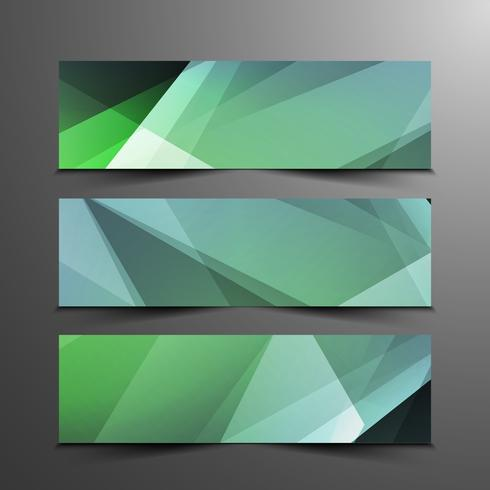 Abstract colorful elegant geometric banners set vector